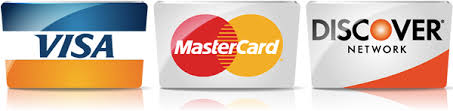 Payment accepted - Visa, Mastercard and Discover